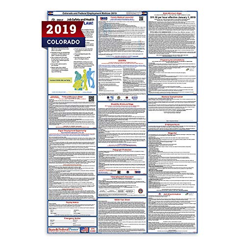 (2019 Colorado Labor Law Posters (Laminated) All-in-One State and Federal Approved, OSHA Compliant Vertical 27