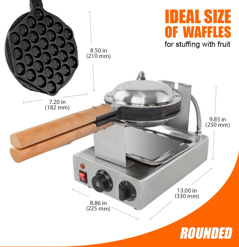 TOP Version Puffle Waffle Maker Professional Rotated Nonstick FY-6 NP-547(Grill / Oven for Cooking Puff, Hong Kong Style, Egg, QQ, Muffin, Cake Eggettes and Belgian Bubble Waffles) (110V with US Plug) by ALD Kitchen (Image #5)