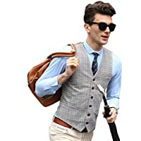 YFFUSHI Mens Design Plaid Suit Vest Slim Fit British Style Separate Vest