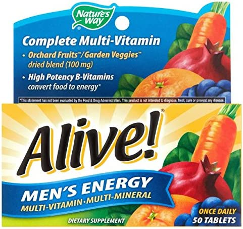 Nature s Way Alive Men s 50 Plus Multivitamin and Mineral Tablets, 50 Count 2 Packs