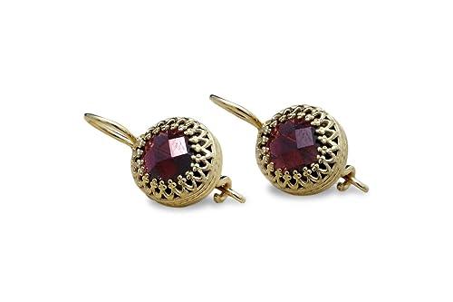 Gemstone Jewelry January Birtthstone, Red Garnet Earrings 14K Gold Earrings Dangle Earrings Minimalist Earrings Handmade Jewelry