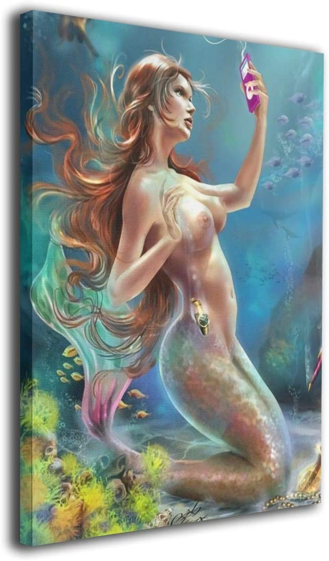 "Dizzy-K Art Sexy Mermaid Wall Art Decor for Living Room Bedroom Bathroom Canvas Artwork Home Decorations Paintings 12""X16"""