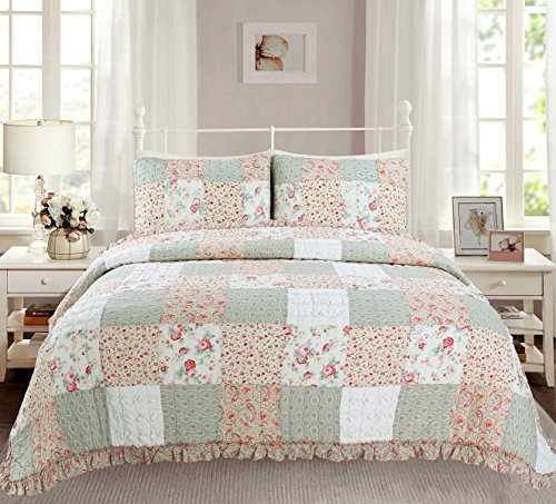Cozy Line Home Fashions Dreamy Rose Bedding Quilt Set, Coral Tiffany Shabby Chic Lace Floral Real Patchwork 100% Cotton Reversible Coverlet, Bedspread, Gifts for Girls Women (Queen - 3 Piece) by Cozy Line Home Fashions