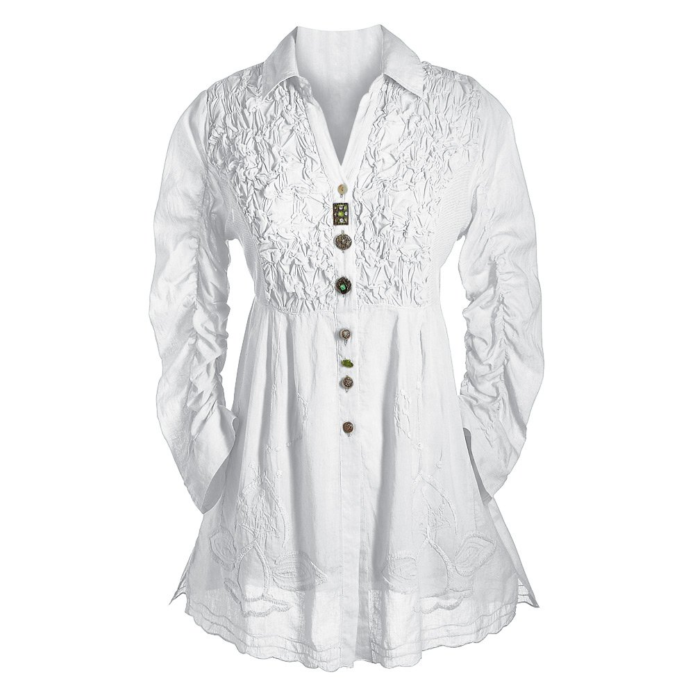 Women's Tunic Top - Button Down 3/4 Sleeve Collared Blouse - White - XL
