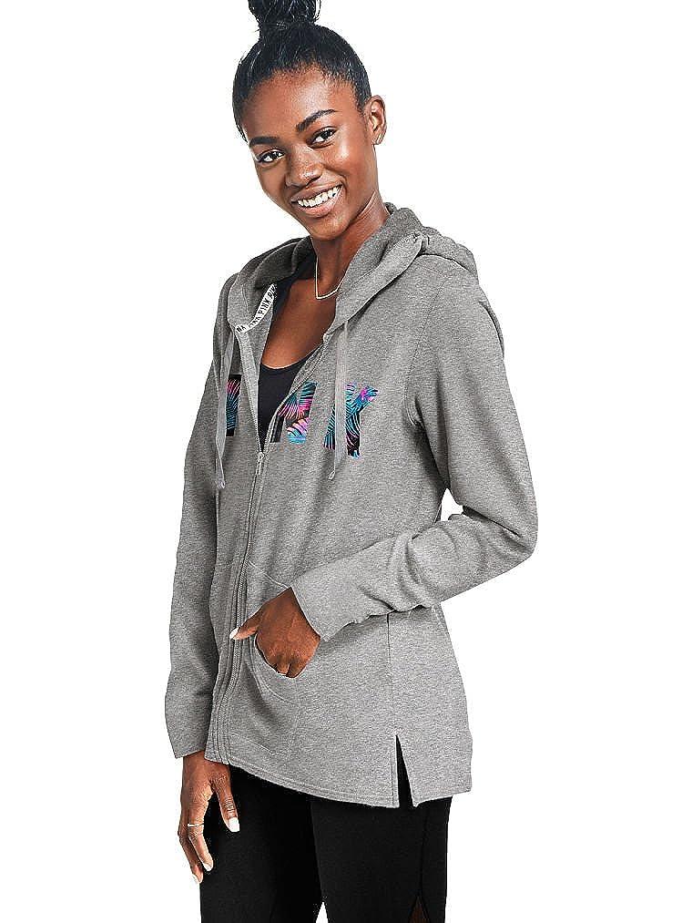 XSmall VICTORIAS SECRET Pink NEW SIDE SLIT FULL-ZIP Hoodie Color Gray