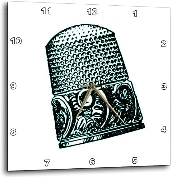 3dRose DPP_165448_1 Vintage Thimble Print Wall Clock, 10 by 10