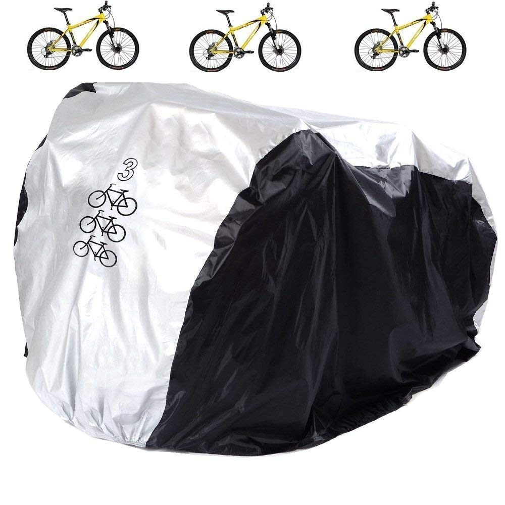 Aiskaer Waterproof Bicycle Cover Outdoor Rain Protector for 3 Bikes-dustproof and Sunscreen