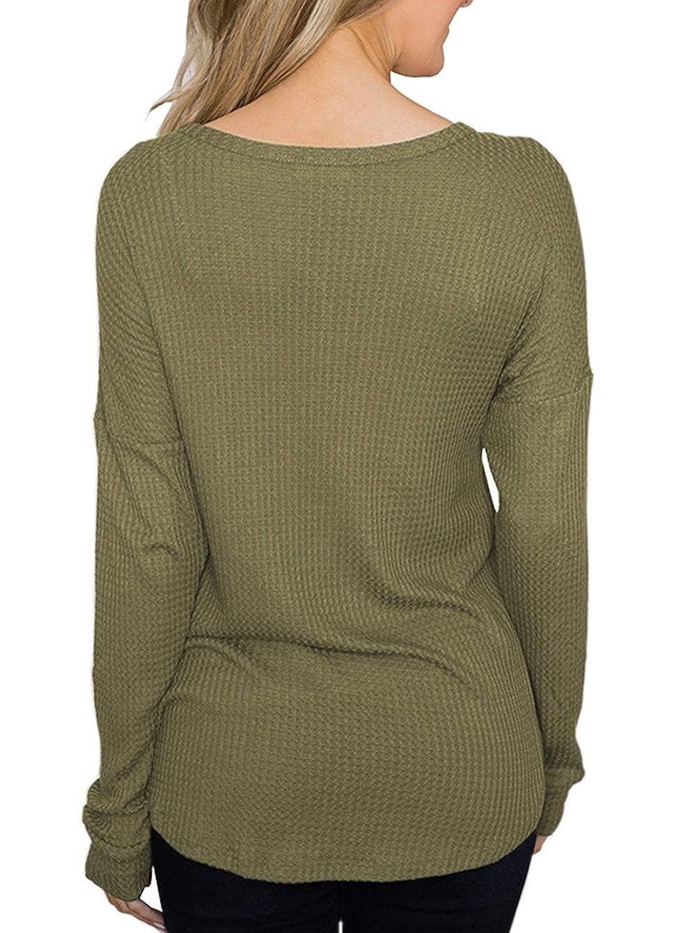bc56d3dda97 Famulily Women's Waffle Thermal Knit Top Casual V Neck Loose Long Sleeve  Tunic Shirt at Amazon Women's Clothing store:
