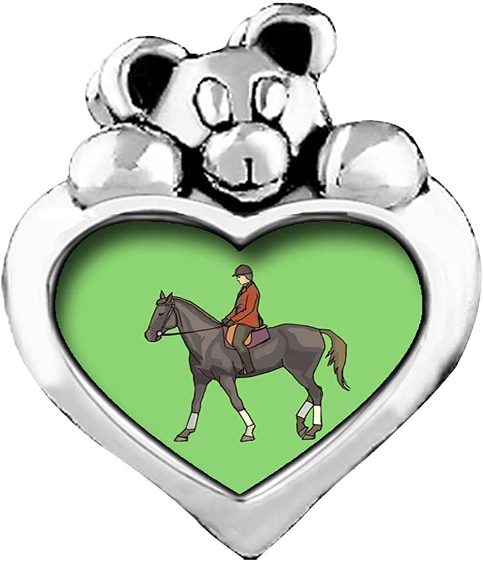 GiftJewelryShop Olympics Equestrian Team Eventing Rider Purple Amethyst Crystal February Birthstone I Love You Heart Care Bear Charm