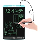 GOODBONG 電子パッド 電子メモ 12インチA4 電子メモ帳 繰り返し書ける 手書きパッド 筆談ボード ワンタッチ消去 デジタルメモ LCD液晶パネル ペン付き 携帯便利 書いて消せるボード 学習 絵描き 打ち合わせ 伝言板 筆談ツール メモ取りなどに対応 電池交換可能