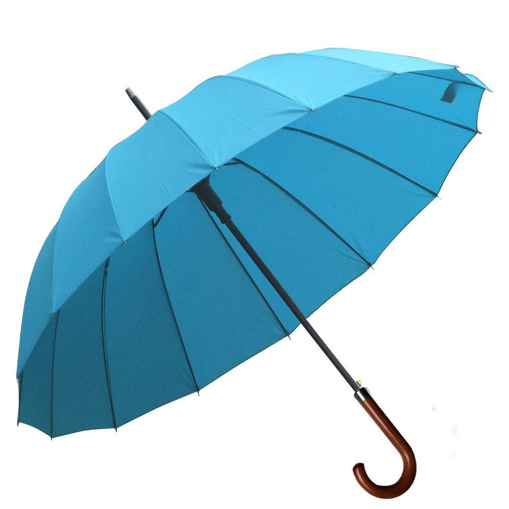 Guoke Solid Wood Handle Umbrella 16 Men And Women Fine Bone Umbrella Auto Long Handle, Blue (Bend The Handle)