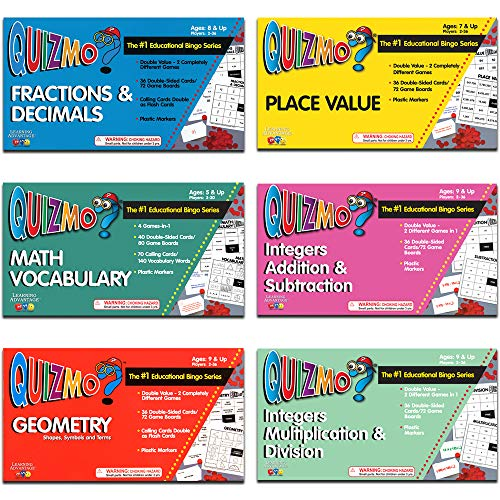 61 vt6itPcL - Learning Advantage QUIZMO Advanced Elementary Math Series - Set of 6 Bingo-Style Math Games for Kids - Teach Fractions, Decimals, Math Vocabulary, Geometry, Place Value and Integers