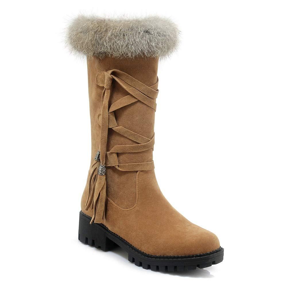 QINGMM Frauen Plüsch Schnee Stiefel 2018 Herbst Winter Plattform Plattform Plattform Spitze Quaste Stiefel Outdoor Baumwolle Stiefel Gelb 38 EU 87c960