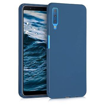 kwmobile Funda para Samsung Galaxy A7 (2018) - Carcasa para móvil en [TPU Silicona] - Protector [Trasero] en [Azul Marino]