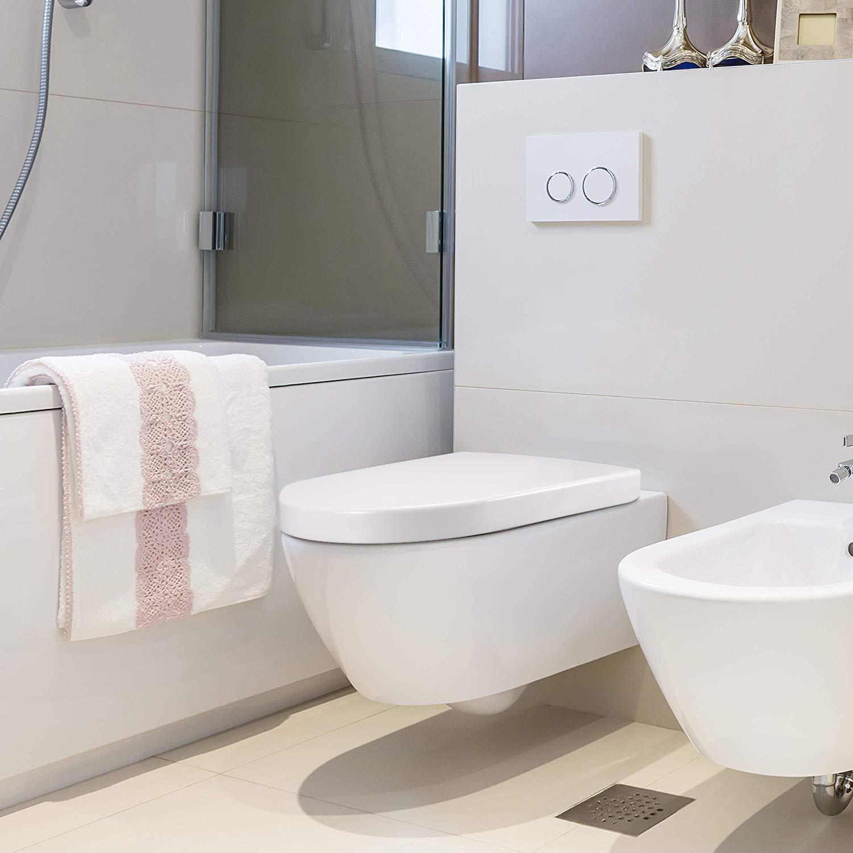 Qisiewell Asiento de Inodoro Tapa de WC Blanco Crema Realizado en Material Duroplast en Forma de U