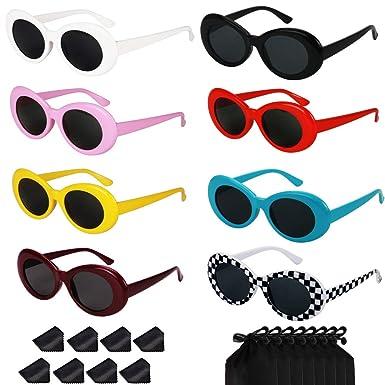 176b7e80df0 Bold Retro Oval Mod Thick Frame Sunglasses Round Lens Kurt Cobain Clout  Goggles (8 pairs