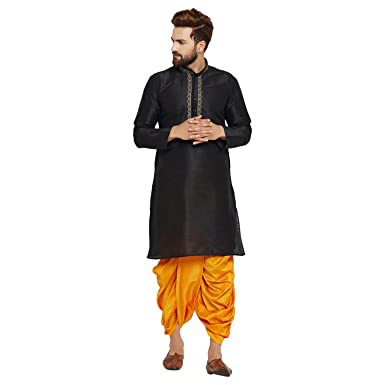 8dc86fb767 Sojanya Men s Dupion Silk Kurta Dupion Silk Dhoti Set Black XX-Large Black  and Mustard