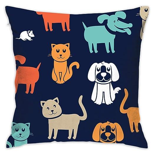 XCOZU Fundas de cojín diseño de Gatos y Perros de Dibujos Animados ...