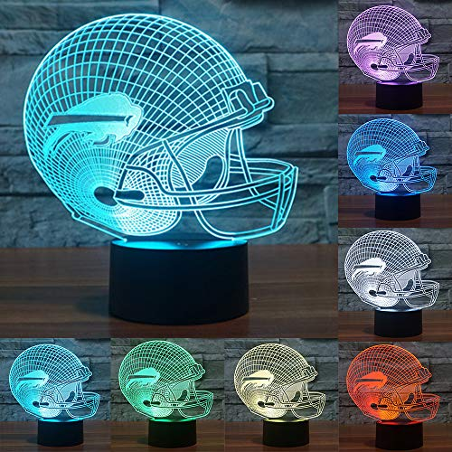 (Football Cap Team Logo 3D Lamp Table NightLight 7 Color Change Football LED Desk Light Touch Multicolored USB Power As Home Decoration Lights Tractor for Boys Kids (Touch) (Buffalo)