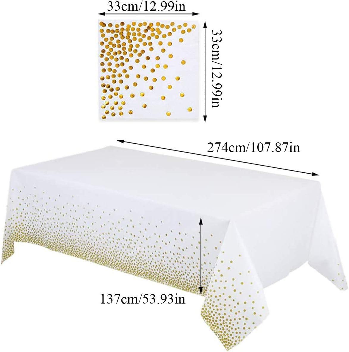 Binjor 2Pcs Nappe de F/ête /à Pois Jetable et 50 esserviettes /à Pois en Papier Couverture de Table PEVA /Épaissir R/ésistant /à leau et /à lhuile Couvre-Tables pour Fournitures de f/ête Noir Blanc