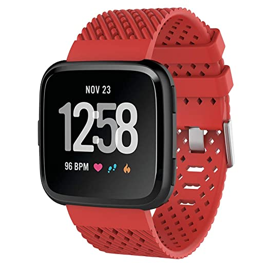 ... para Fitbit Versa Wristband Sports Ajustable Reemplazo de Bandas para Fitbit Versa Correa Fitness Smartwatch Accesorios (Rojo): Amazon.es: Relojes