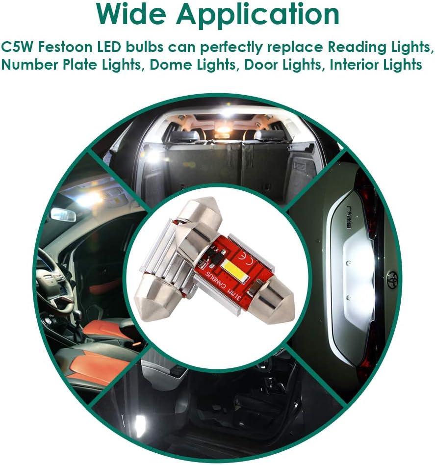 Lot de 4 GLL 36MM C5W LED Canbus CSP 1860-1SMD 650 Lumens Pour Feux de Voiture /à LED Ampoules de Plaque Dimmatriculation Lumi/ère de Stationnement Ext/érieur Pour Coffre Lumi/ère Pour D/ôme de Lumi/ère