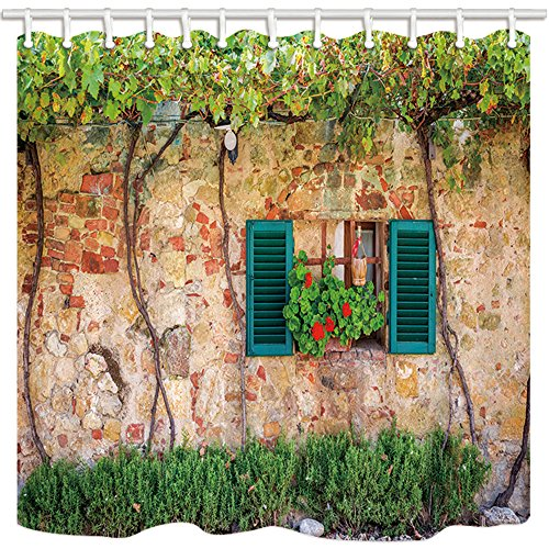 KOTOM Tuscan Decor Shower Curtain, Shutters Window on Ancient Stone Wall with Flowers, Polyester Fabric Bath Curtains with Hooks 69W X 70L Inches