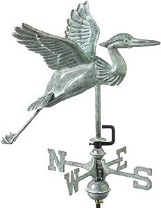 Good Directions Blue Heron Garden Weathervane, Includes Garden Pole, Blue Verde Copper, Patina