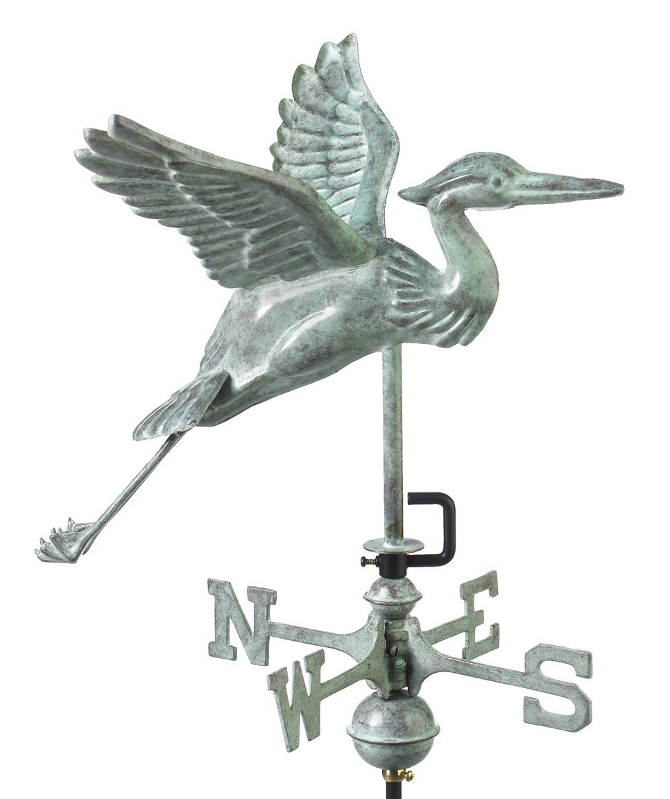 Good Directions Blue Heron Cottage Weathervane, Includes Roof Mount, Blue Verde Copper, Patina
