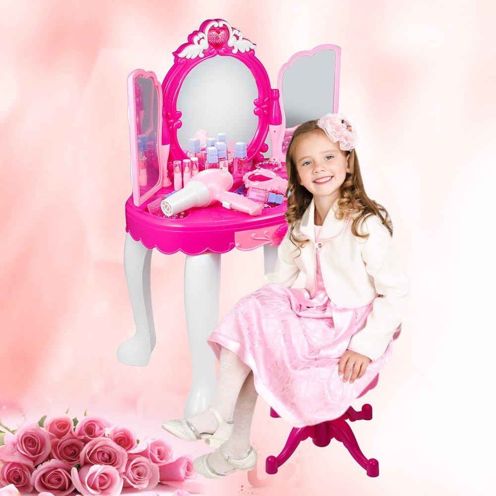 SOULONG Tabella di Trucco,Toeletta con Specchio e Sgabello in Legno Stile Principessa Tavolo da Trucco con Sgabello Specchiera per Bambina con Luci e Musica Rosa