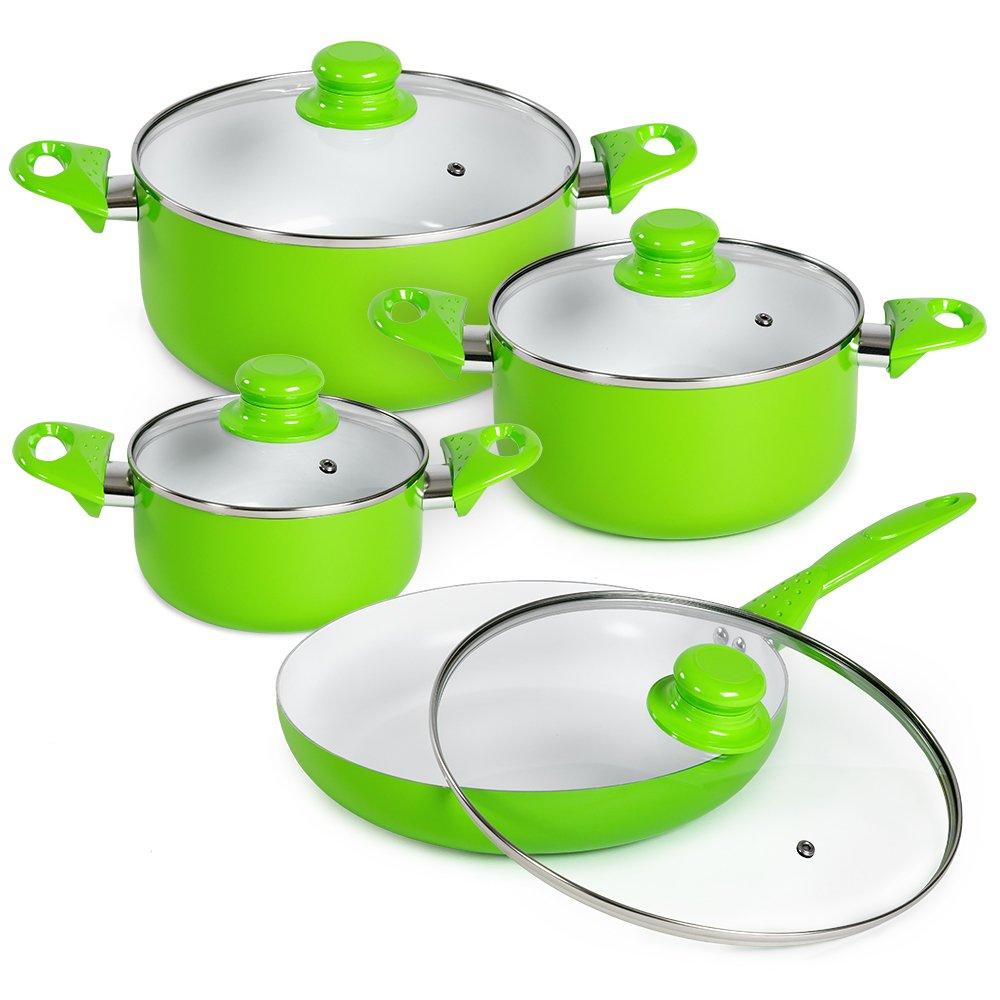 Tectake 8 Piece Ceramic Cooking Pots Lids Pan Pot Saucepan Cookware