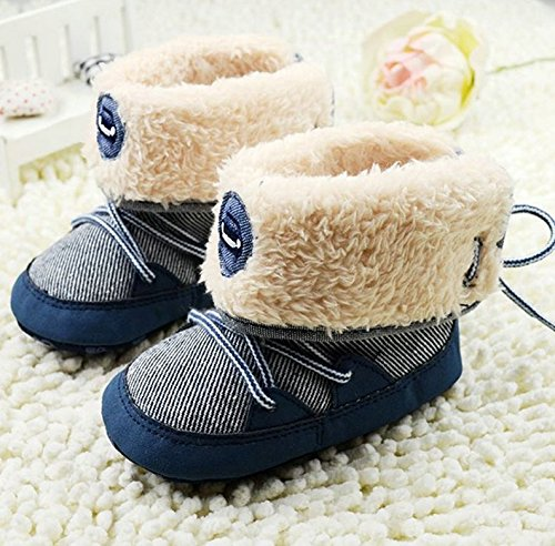 NEW Newborn Toddler Baby Boy Girl Warm Fur Snow Boots Stripes Soft Sole Booties First Walkers (1 US SIze, Navy Blue)