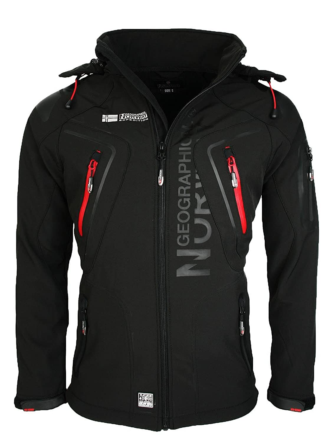Noir M Geographical Norway Tambour Veste Softshell Homme