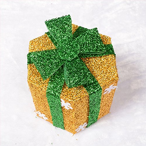 20cm Snowflake Sisal PVC Hexagon Gift Boxes Christmas Party Yard Art Decorations - 1