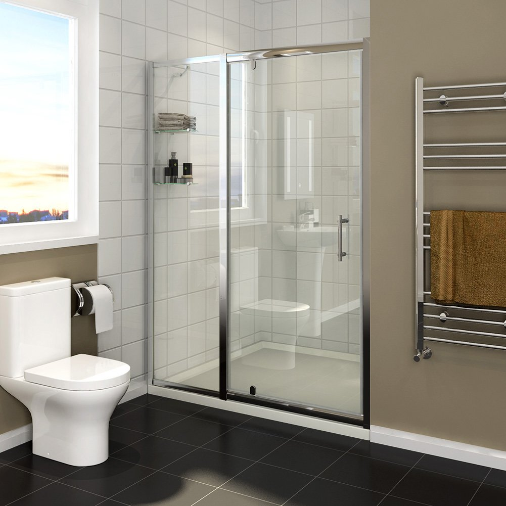 1100mm Pivot Hinge Shower Cubicle Door 6mm Thick Glass Shower Enclosure Screen with Inline Panel and Shelves sunny showers