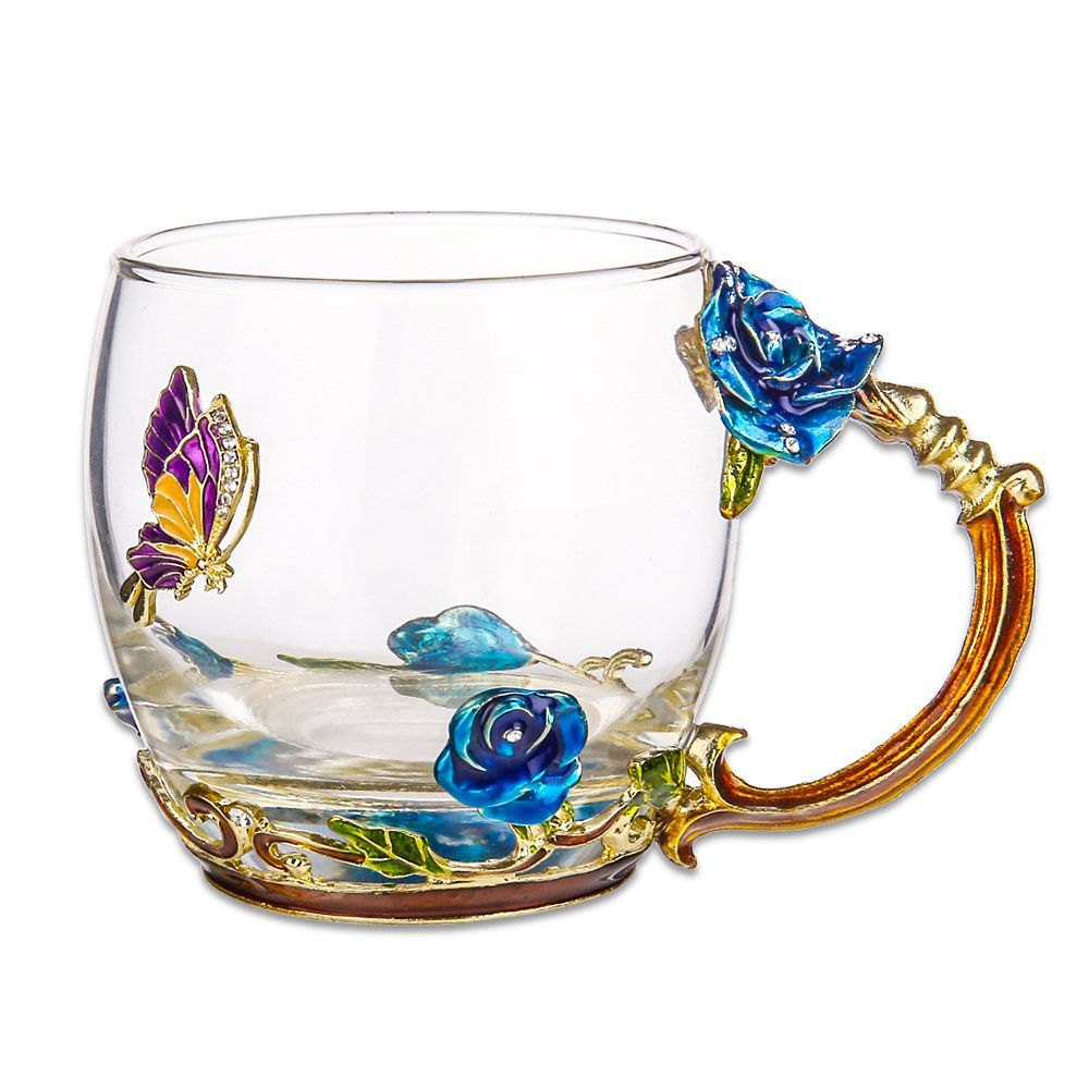 TIANG Flower Glass Tea Mug, 11oz Lead Free Handmade Butterfly and Blue Rose Glass Cup with Handle, Unique Personalized Birthday Gift Ideas for Women Mother Grandma Teachers Hot Beverages