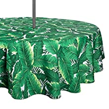 "DII Spring & Summer Outdoor Tablecloth, Spill Proof and Waterproof with Zipper and Umbrella Hole, Host Backyard Parties, BBQs, & Family Gatherings - (60"" Round - Seats 2 to 4) Banana Leaf"