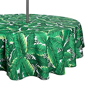 """DII 100% Polyester, Spill proof and Waterproof, Machine Washable, Outdoor Tablecloth With Zipper and Umbrella Hole, 60"""" Round, Banana Leaf, Seats 4 People"""