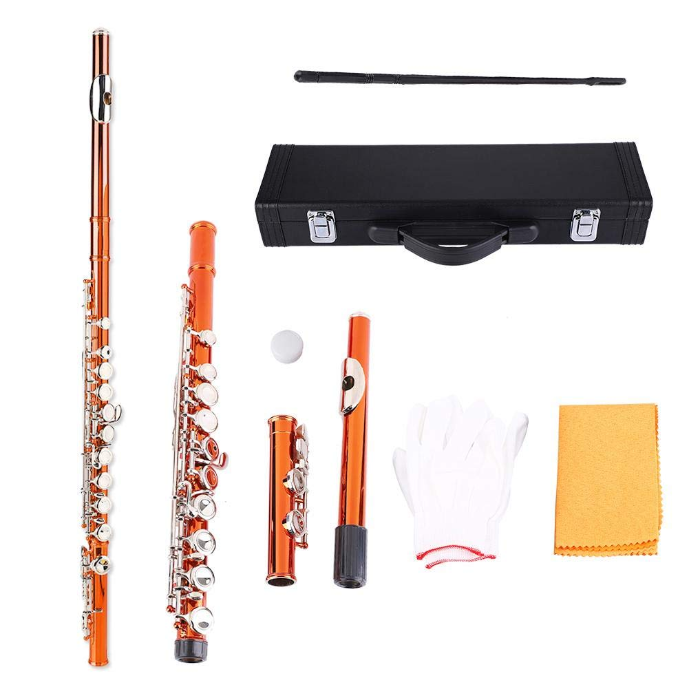 Brass Flute Beginner Kit With Cleaning Cloth Gloves Storage Case(Orange) by Bnineteenteam