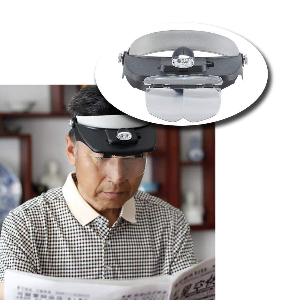 Schwarz JUEYAN LED Kopflupe Stirnlupe Brillenlupe Lupenbrille