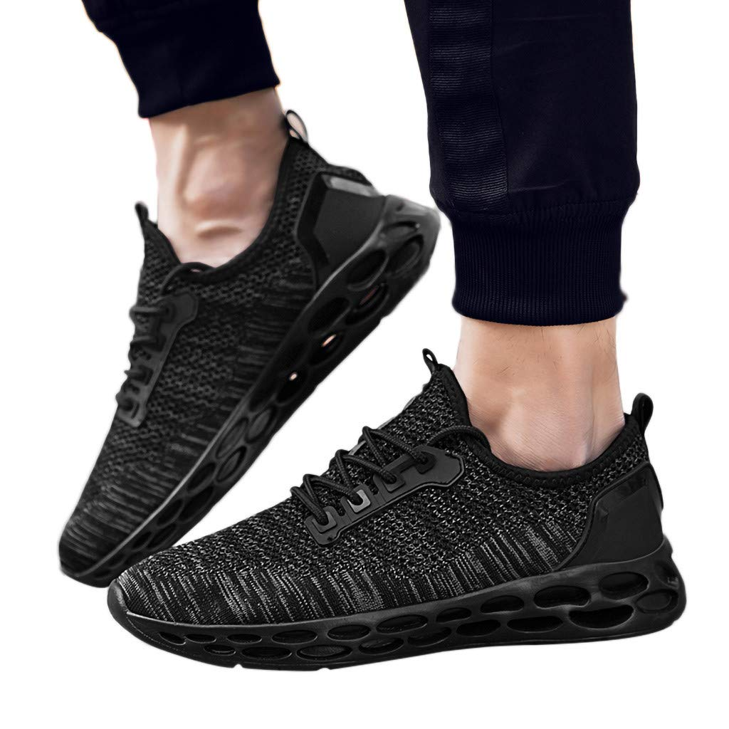 Gyouanime Mens Mesh Shoes Teen Boys Running Shoes Sport Shoes Sneaker Comfortable Footwear Outdoor Sneakers Walking Shoes Black