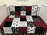 Toddler/Crib Size Blanket, Patchwork Baby Blanket with Black Deer, Black Arrows, Red Plaid