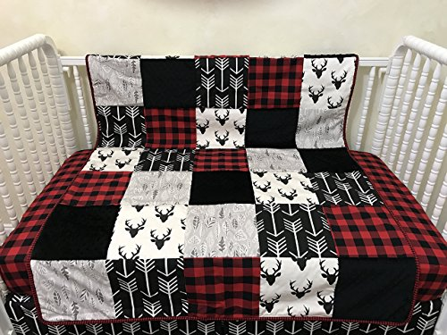 Toddler/Crib Size Blanket, Patchwork Baby Blanket with Black Deer, Black Arrows, Red Plaid by Just Baby Designs Inc