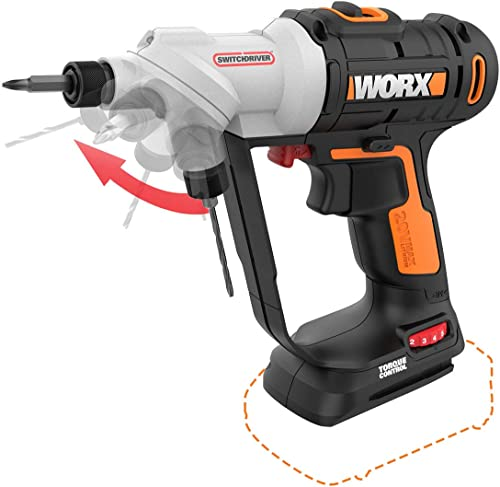 WORX WX176L.9 20V Switchdriver 2-in-1 Cordless Drill and Driver Tool Only with Rotating Dual Chucks and 2-Speed Motor with Precise Electronic Torque Control Tool Only