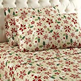 Thermee Micro Flannel Sheet Set, King, Christmas Floral