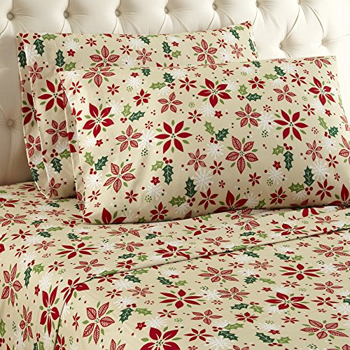 Thermee Micro Flannel Sheet Set, King, Christmas Floral Christmas Floral