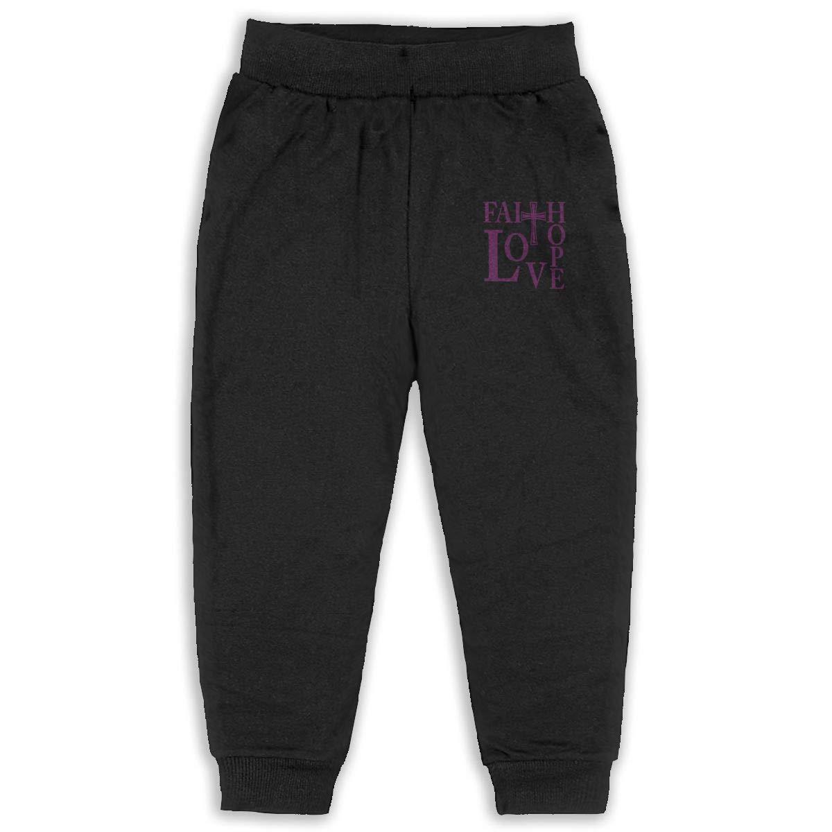 Faith Hope Love Kids Cotton Sweatpants,Jogger Long Jersey Sweatpants