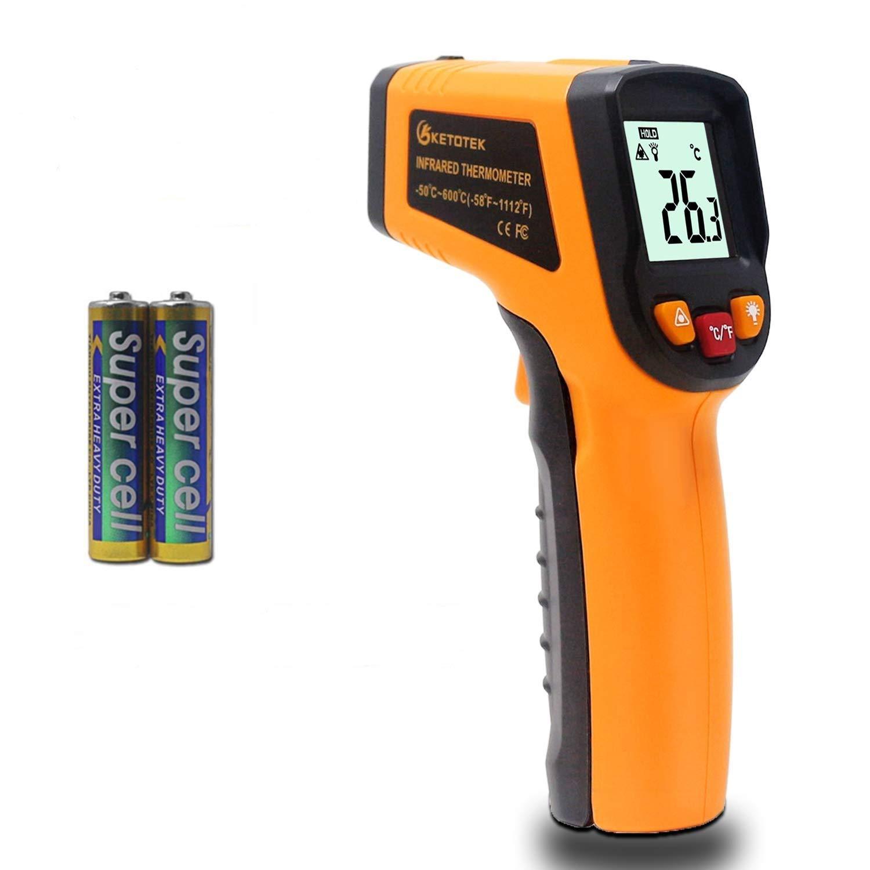 KETOTEK Pistola Termómetro Infrarrojos Laser Digital Termómetro Pistola FDA Infrared Thermometer -50 ℃ - 600 (-58-1112) Sin contacto Punto Termometros Pistola Termómetro (NO para humanos)