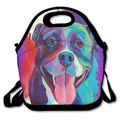 50bdf542f6da Amazon.com - Vioceff Pit Bull Pop Art Purple Lunch Bags Insulated ...