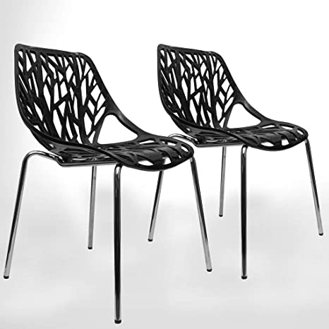 Incredible Urbanmod Black Modern Dining Chair Set Of 2 Stackable Birch Sapling Accent Armless Side Chairs Caraccident5 Cool Chair Designs And Ideas Caraccident5Info